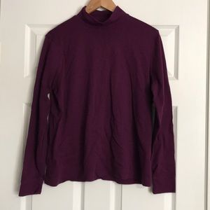 Purple Lands End Relaxed Long Sleeve Turtleneck